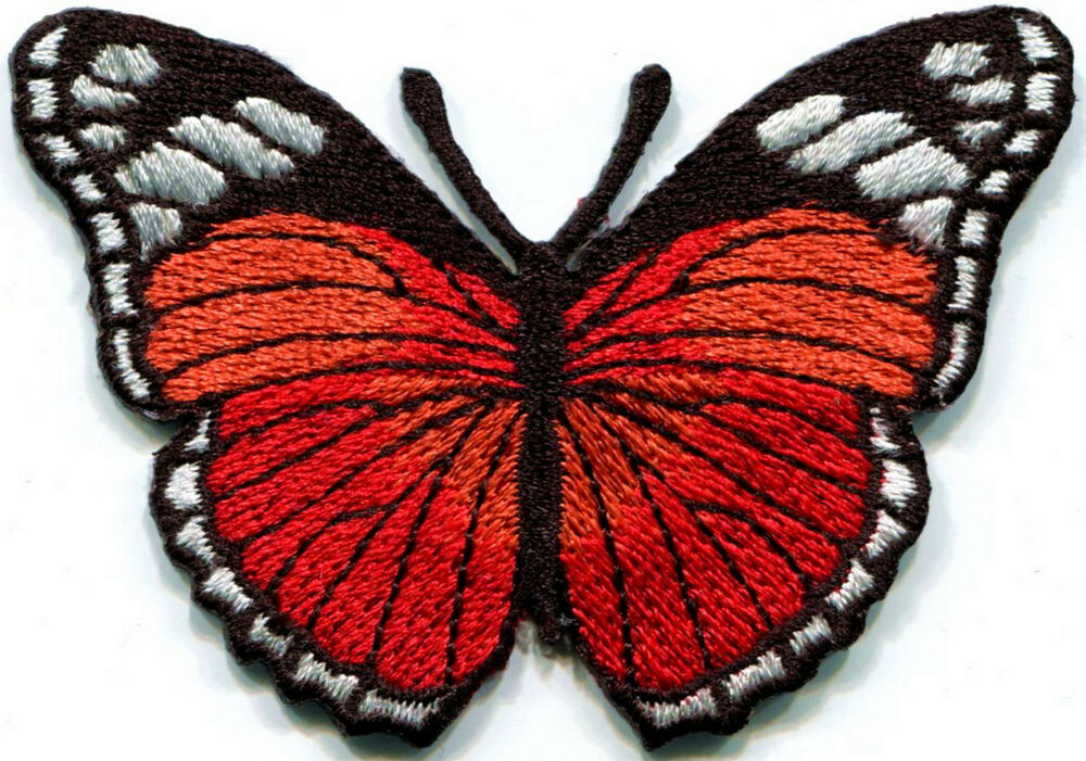 Butterfly hippie red embroidered iron on patch s ebay