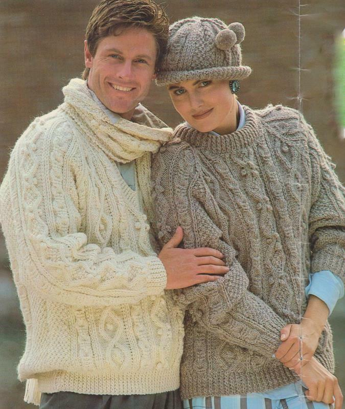 Knitting Patterns For Sweaters In The Round : Round/V Neck Raglan Aran Sweater,Brimmed Hat & Scarf ...