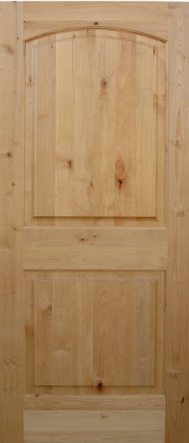 exterior entry knotty alder 2 panel arch top solid wood