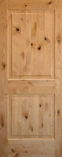 Exterior Entry Knotty Alder 2 Panel Square Solid Wood