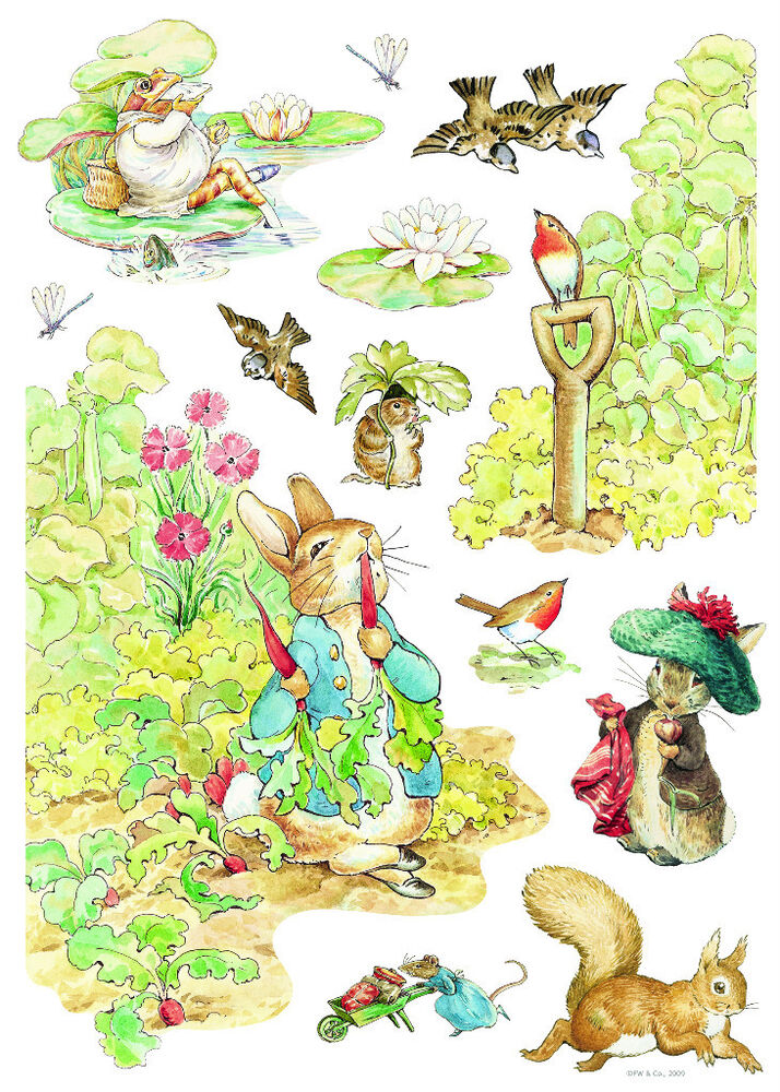 Beautiful beatrix potter bunny wall decals nursery mural for Beatrix potter mural