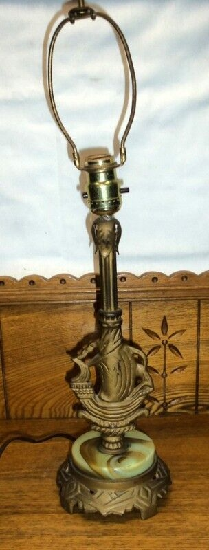 Antique Alabaster Onyx Base Table Lamp W Ship Boat Ebay