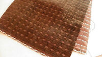 Brown Square Print Velvet Upholstery Fabric Remnant F524
