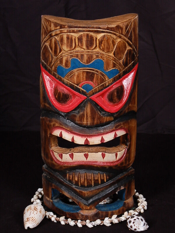 Carved polynesian tiki mask 12 beach decor ebay for Tiki decorations home
