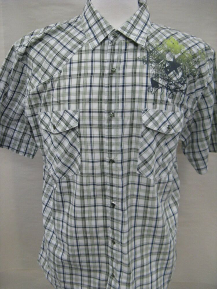 Nwt S S Men 39 S Casual Check Plaid Button Down Shirts Sage