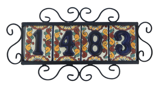 4 four mexican talavera house number tile iron frame for House number frames
