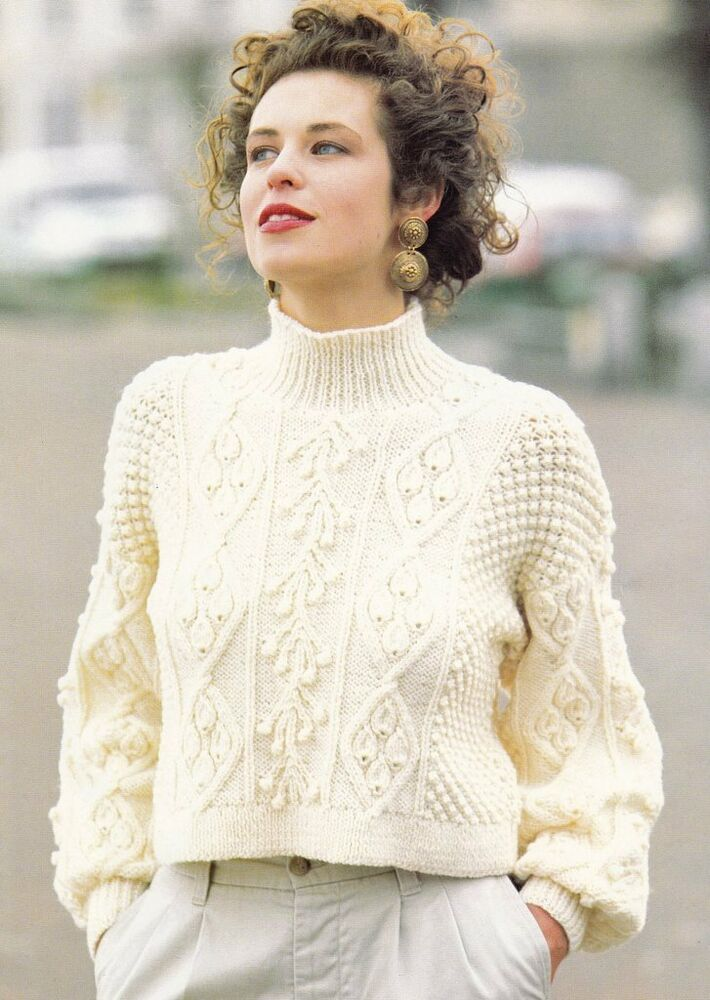 Knitting Pattern Sweater With Collar : Womans Ladies Cropped Aran Sweater Knitting Pattern with Stand up Collar 30-3...