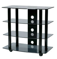"""TransDeco Glass TV Stand Cart w/Casters / Wheels 4 shelves 32"""" LCD LED TV - NEW"""