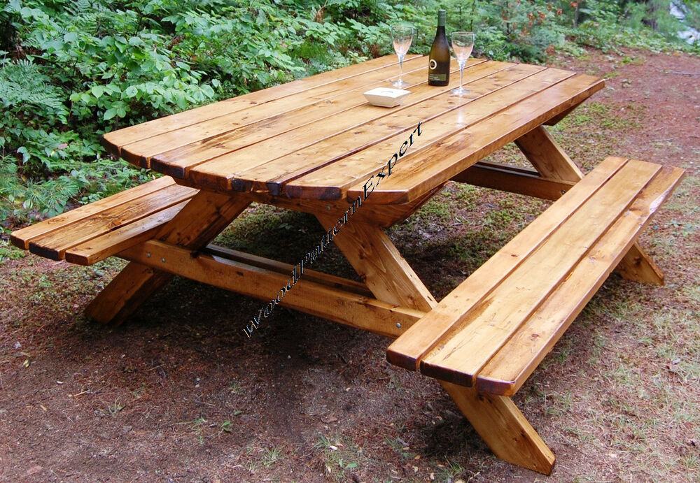 Picnic table w benches paper patterns build your own like for 8 picnic table plans