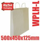50 Large White Kraft Paper Gift & Shopping Bags w/ Twist Rope Handle 500x450x125