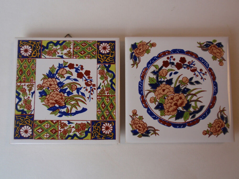 Vintage White Square Floral Footed Tile Trivets Taiwan