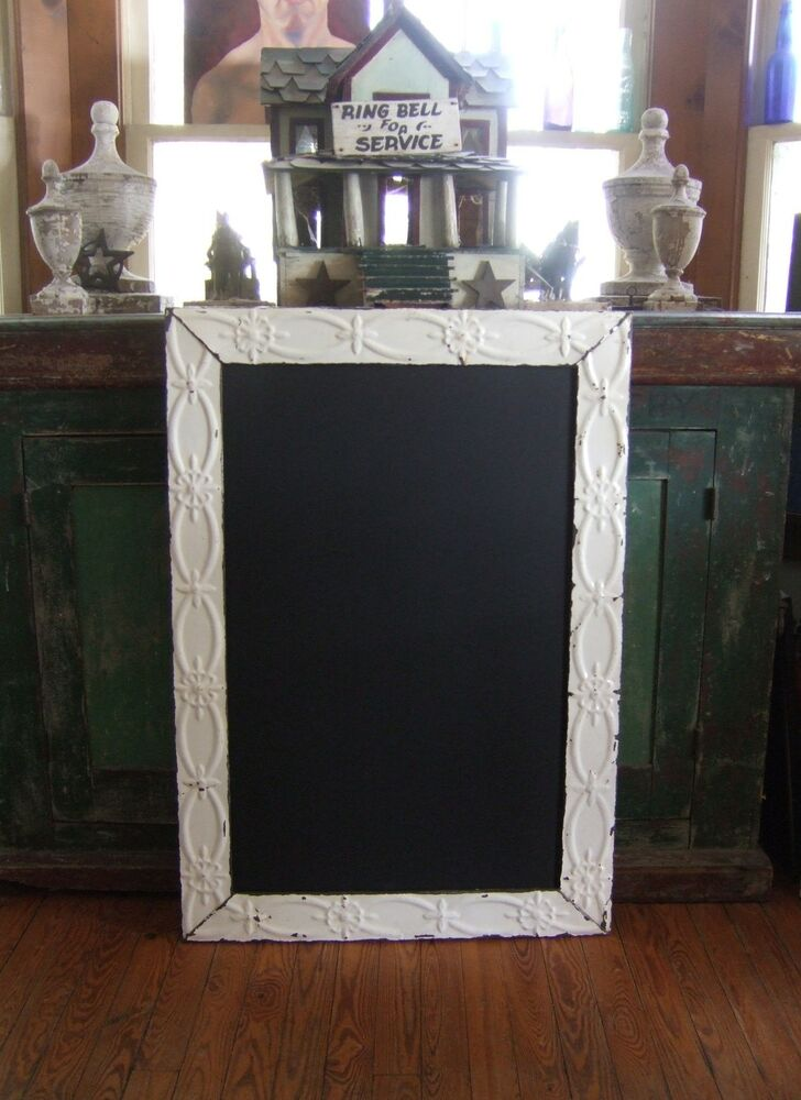 Antique Ceiling Tin Frame Chalkboard Blackboard Shabby