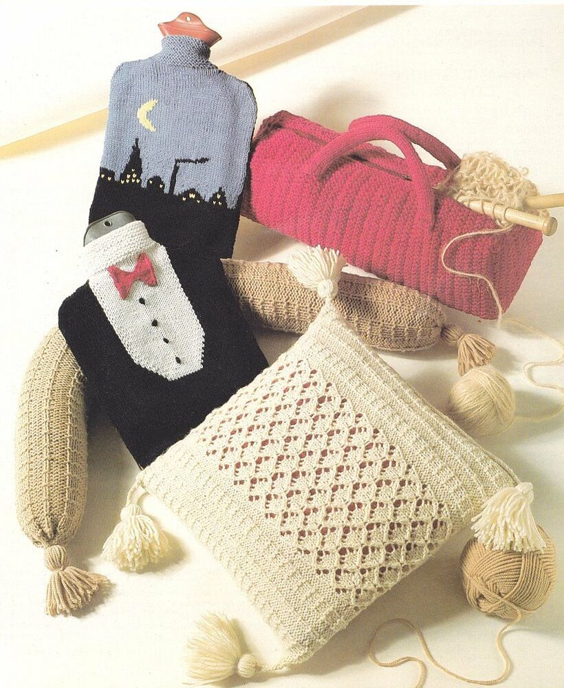 Hot Water Bottle Cover Knitting Pattern Dk : Aran Cushion Cover ~ Knitting Bag ~ Hot Water Bottle Covers etc ~Gifts to Kni...