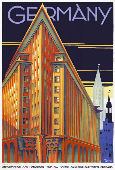 tt63 vintage hamburg germany german travel poster re print. Black Bedroom Furniture Sets. Home Design Ideas