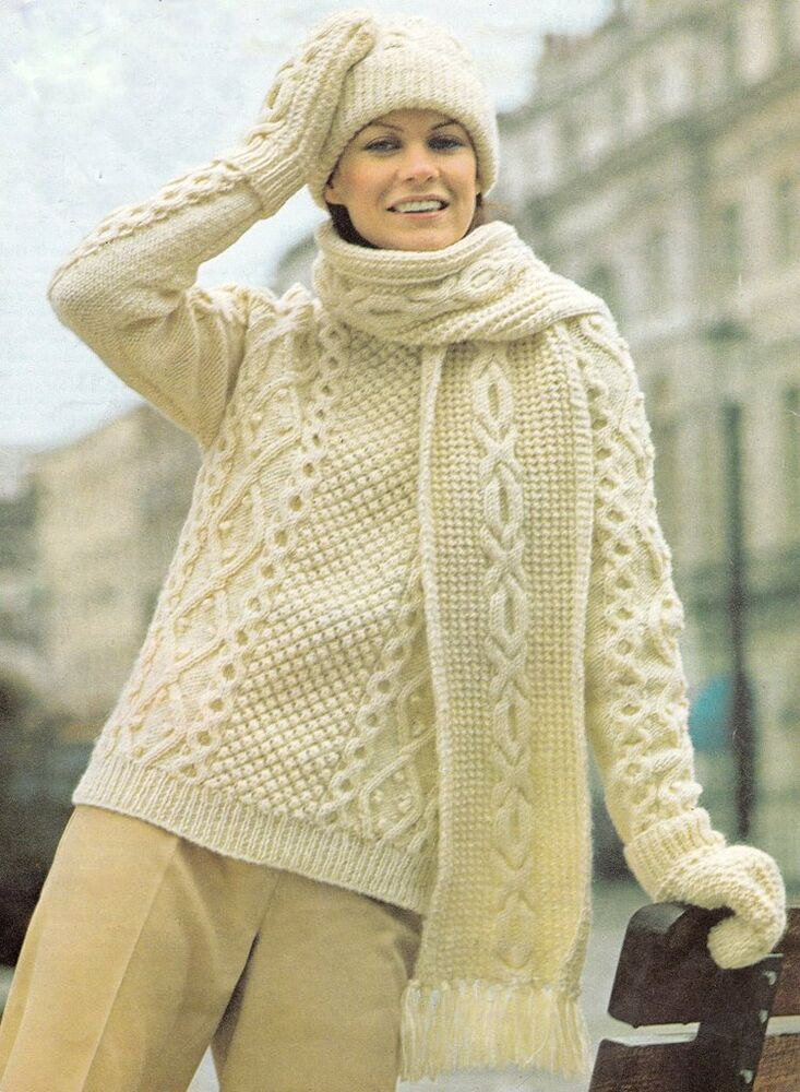 Aran Unisex Traditional Sweater Hat Mitts & Scarf Knitting Pattern 34&quo...