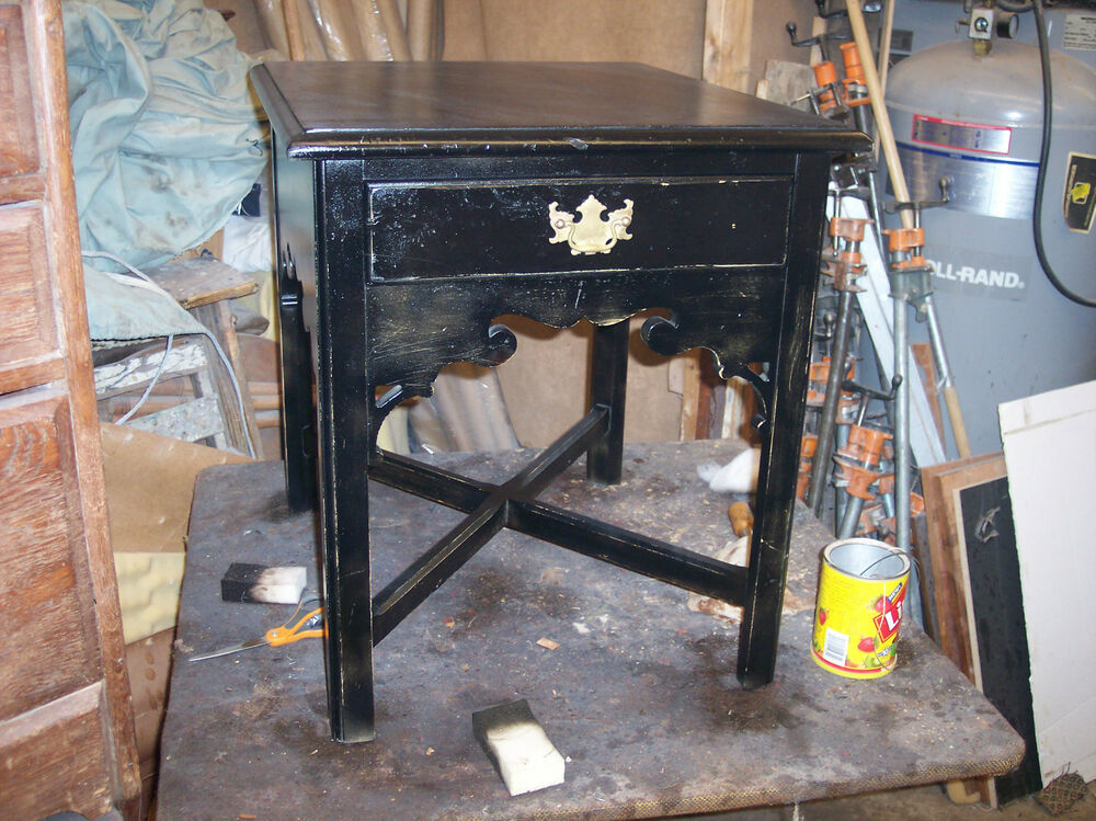 Black distressed side table end table with drawer by for Black side table with drawer