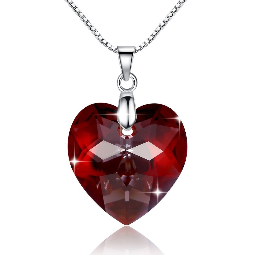 925 Silver Red Heart Crystal Necklace Valentine Love ...