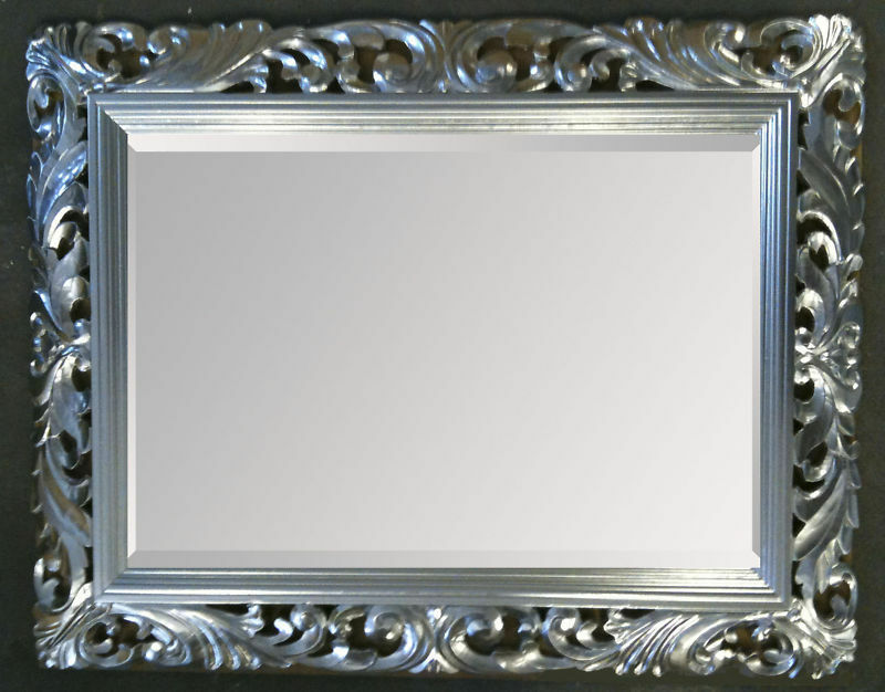 Large Bright Silver Carved Ornate Bevelled Mirror