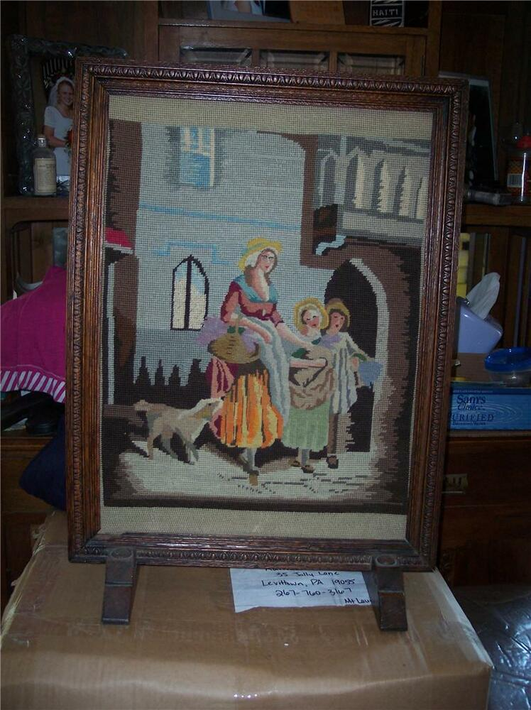 small oak carved fireplace screen with needlepoint ebay