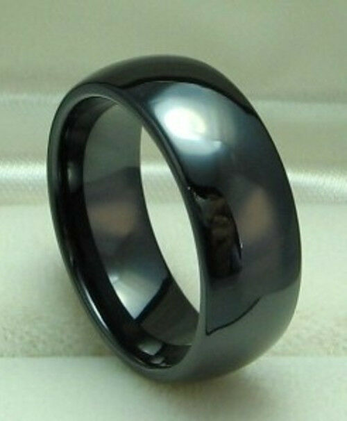 black ceramic wedding band comfort fit ring size 8 to size 12 ebay