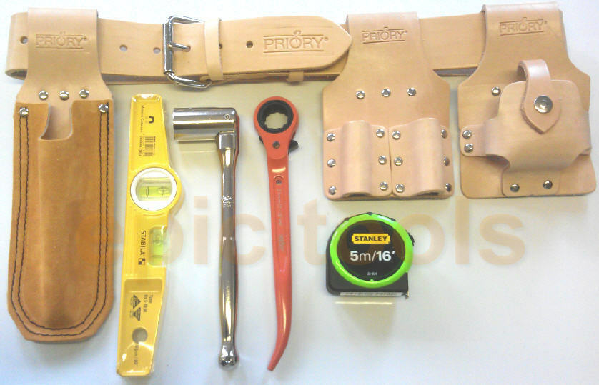 priory pro scaffold/scaffolders tool belt kit, spanner,ratchet,level ...