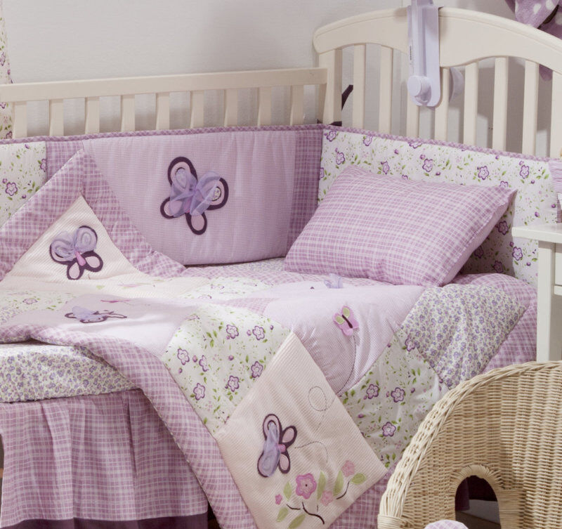 4 PIECE PINK & PURPLE BUTTERFLY BABY CRIB BEDDING COT SET ...