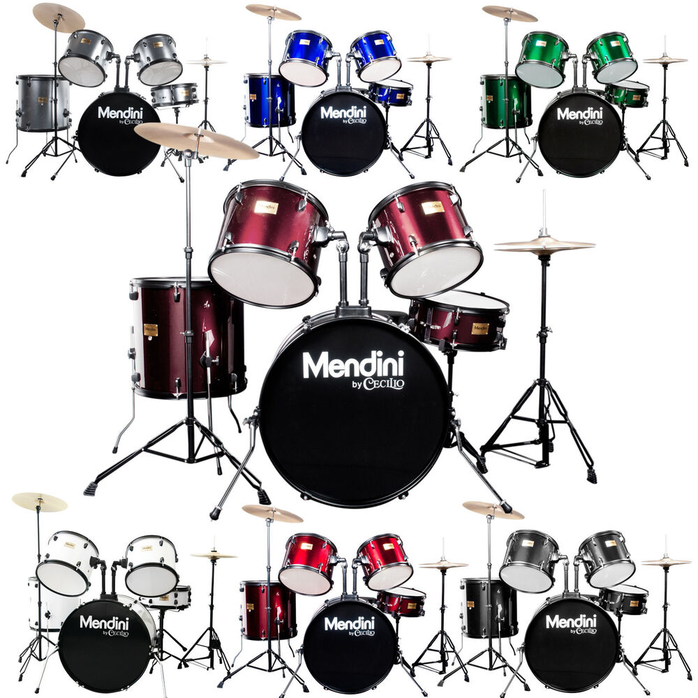 Mendini Complete 5 Pcs Adult Senior Drum Set Black Blue