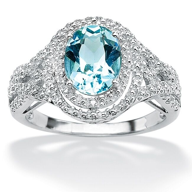 Womens Platinum Over Sterling Silver Oval Cut Blue Topaz