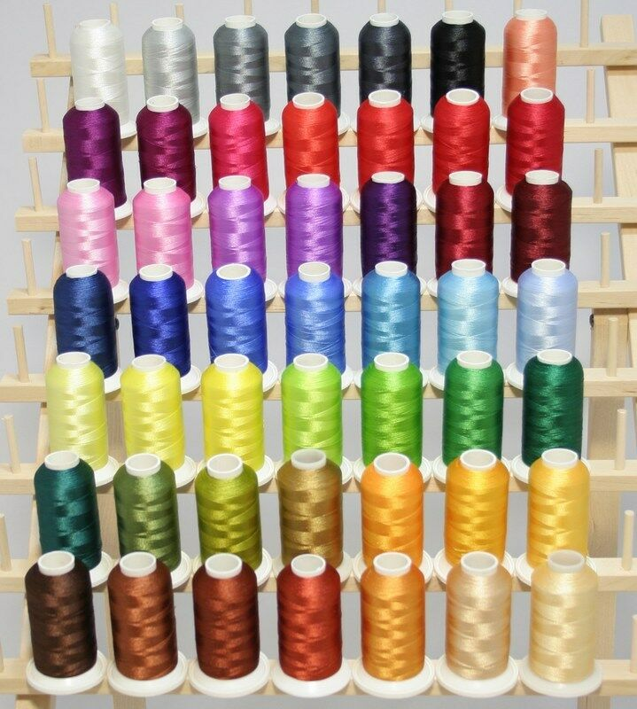 LARGE 50 CONES MACHINE EMBROIDERY THREAD +RACK + PREWOUND BOBBIN KIT FOR JANOME | EBay