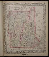 1874 Antique Mitchell County Map New Hampshire Vermont