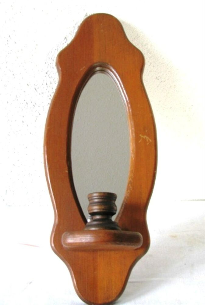 Antique Cherry Wood Wall Sconce Reflector Mirror