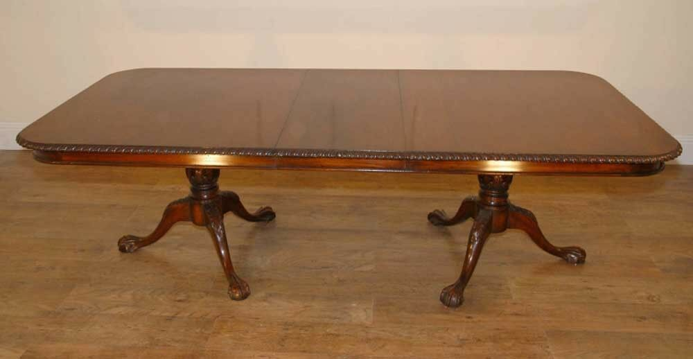 English Carved Mahogany Chippendale Victorian Dining Table EBay