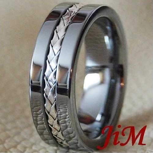 Men 39 S Tungsten Ring Silver Inlay Wedding Band Titanium Color Jewelry Size