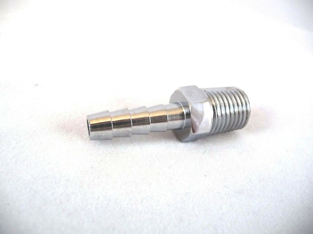 Quot straight hose barb male npt chrome fitting ebay