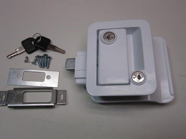 White Rv Entry Door Lock Handle Knob W Deadbolt Camper