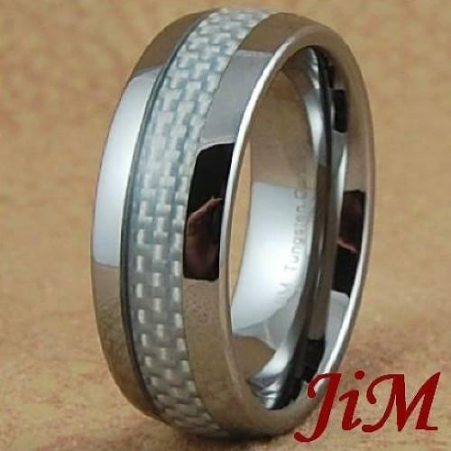 Mens Tungsten Rings White Carbon Fiber Wedding Band Titanium Color Size 6 15