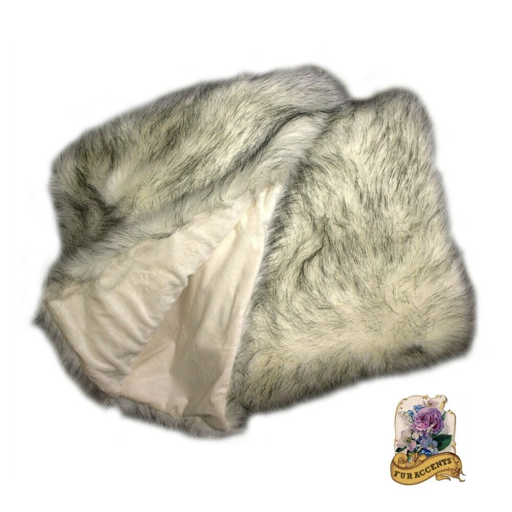 Black Tip Russian Wolf Throw Blanket Faux Fur Minky Lining