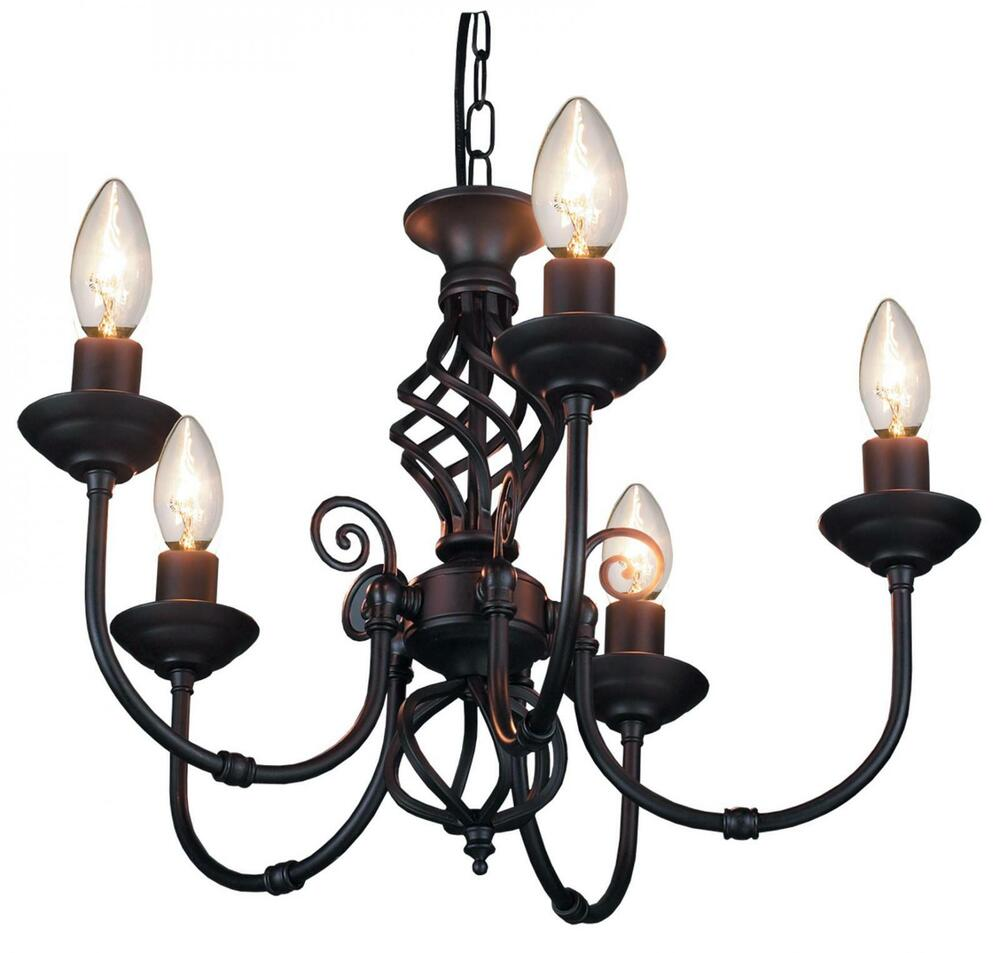 5 arm chandelier traditional barley twist ceiling light fitting pendant black ebay - Chandelier ceiling lamp ...