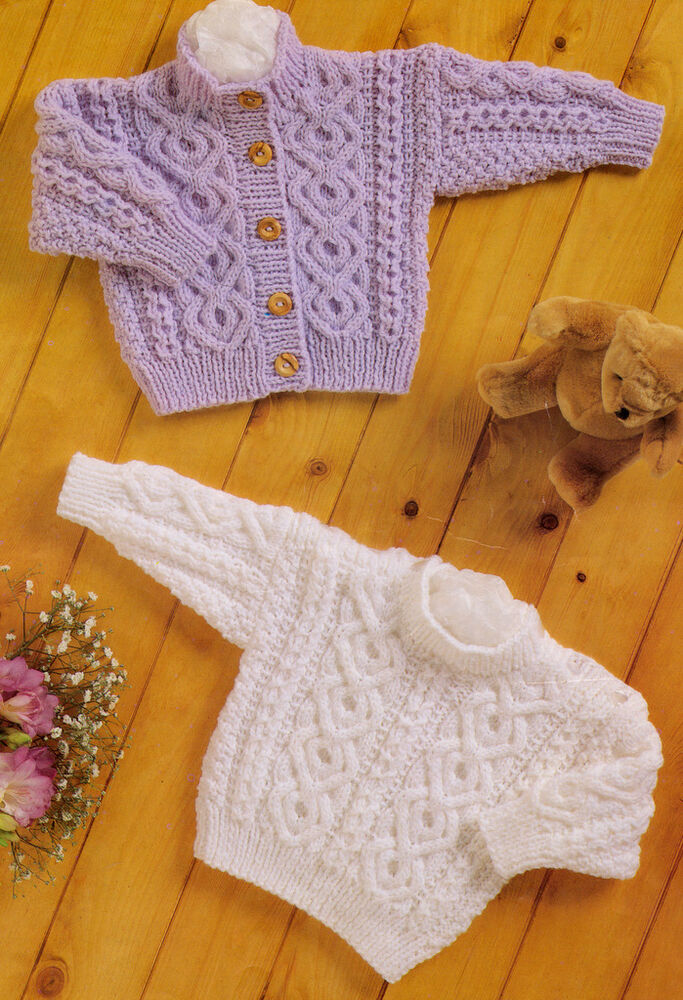Baby Aran Knitting Pattern Button Up Cardigan Amp Sweater