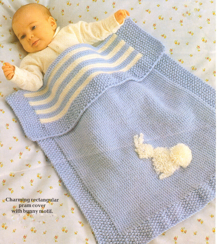 Free Vintage Knitting Patterns For Baby Blankets : Vintage Baby Pram Blanket with Bunny Motif Knitting Pattern DK 20