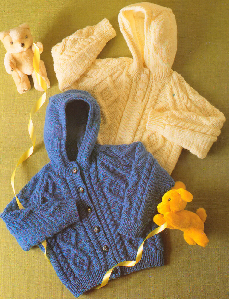 Knitting Pattern Raglan Sleeve Baby Cardigan : Little Aran Hooded Jacket & Sweater 20