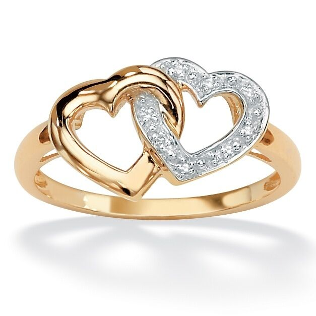 interlocking 10k gold heart promise engagement wedding