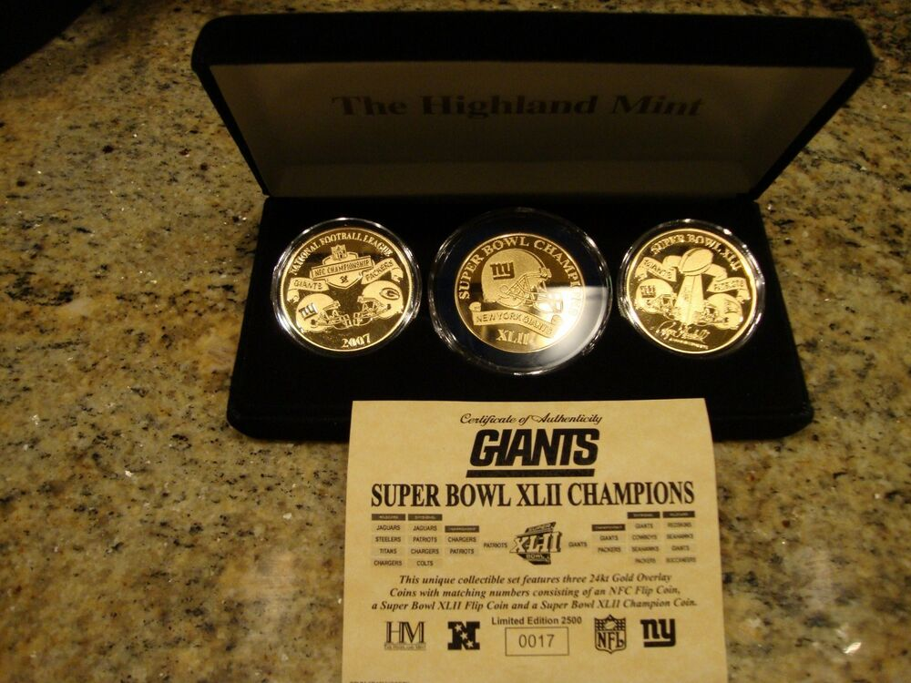 New York Giants Super Bowl Xlii 24kt Gold 3 Coin Set Ebay