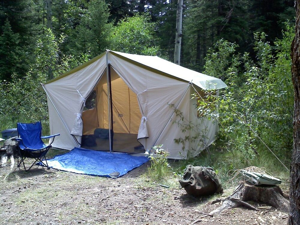 New 12x9x5ft Canvas Wall Tent W Poles And Floor Ebay