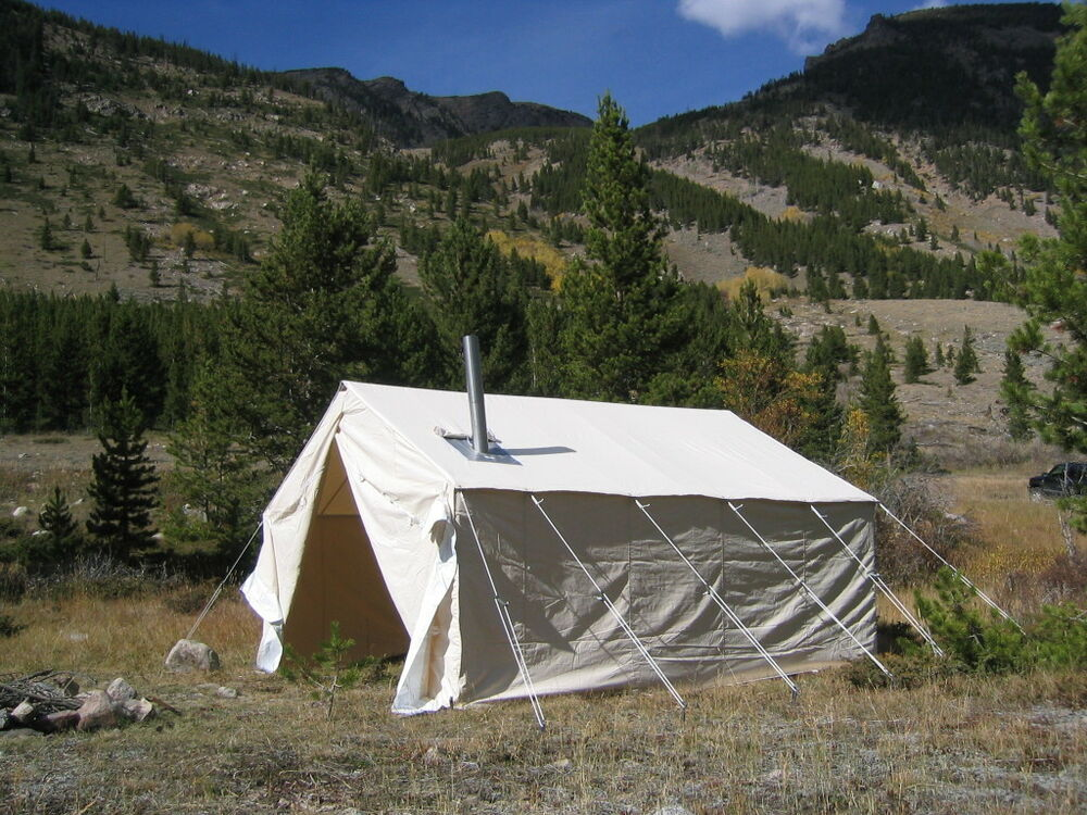 New 12x16x5ft outfitter canvas wall tent angle kit ebay for Canvas tent fly