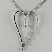 18K WHITE GOLD HEART PENDANT WITH DIAMONDS CT 0.38, NECKLACE, MADE IN ITALY