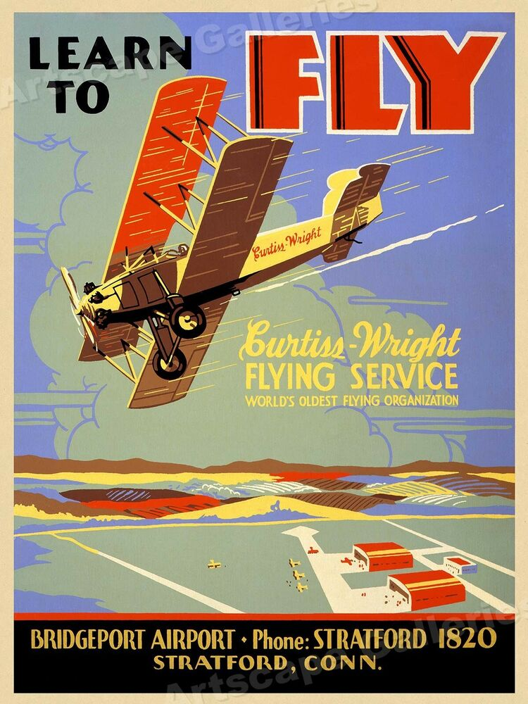 1930s Flying Lesson Poster Quot Learn To Fly Quot Vintage Style