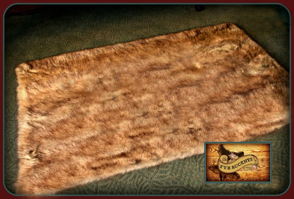 Fur Accents Faux Fur Wolf Skin Area Rug Light Brown Tones