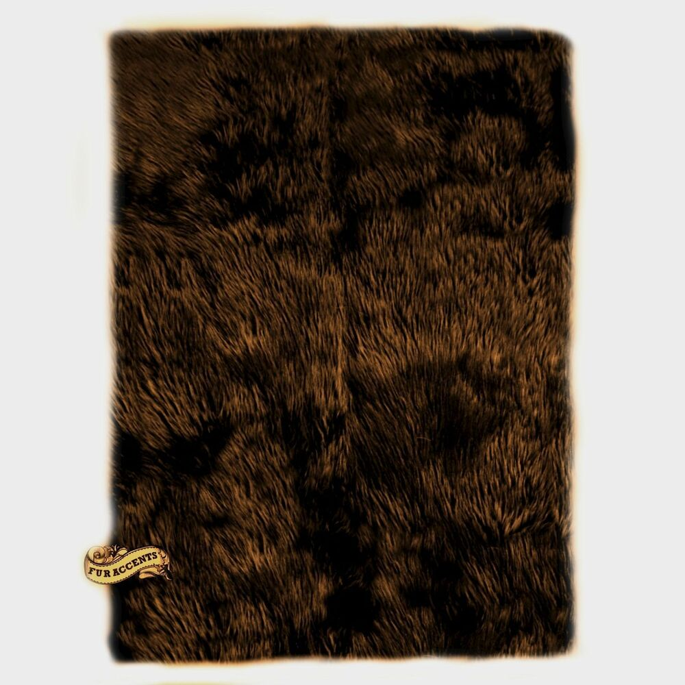 Fur accents brown bear skin acent rug shaggy faux fur for Fur rugs