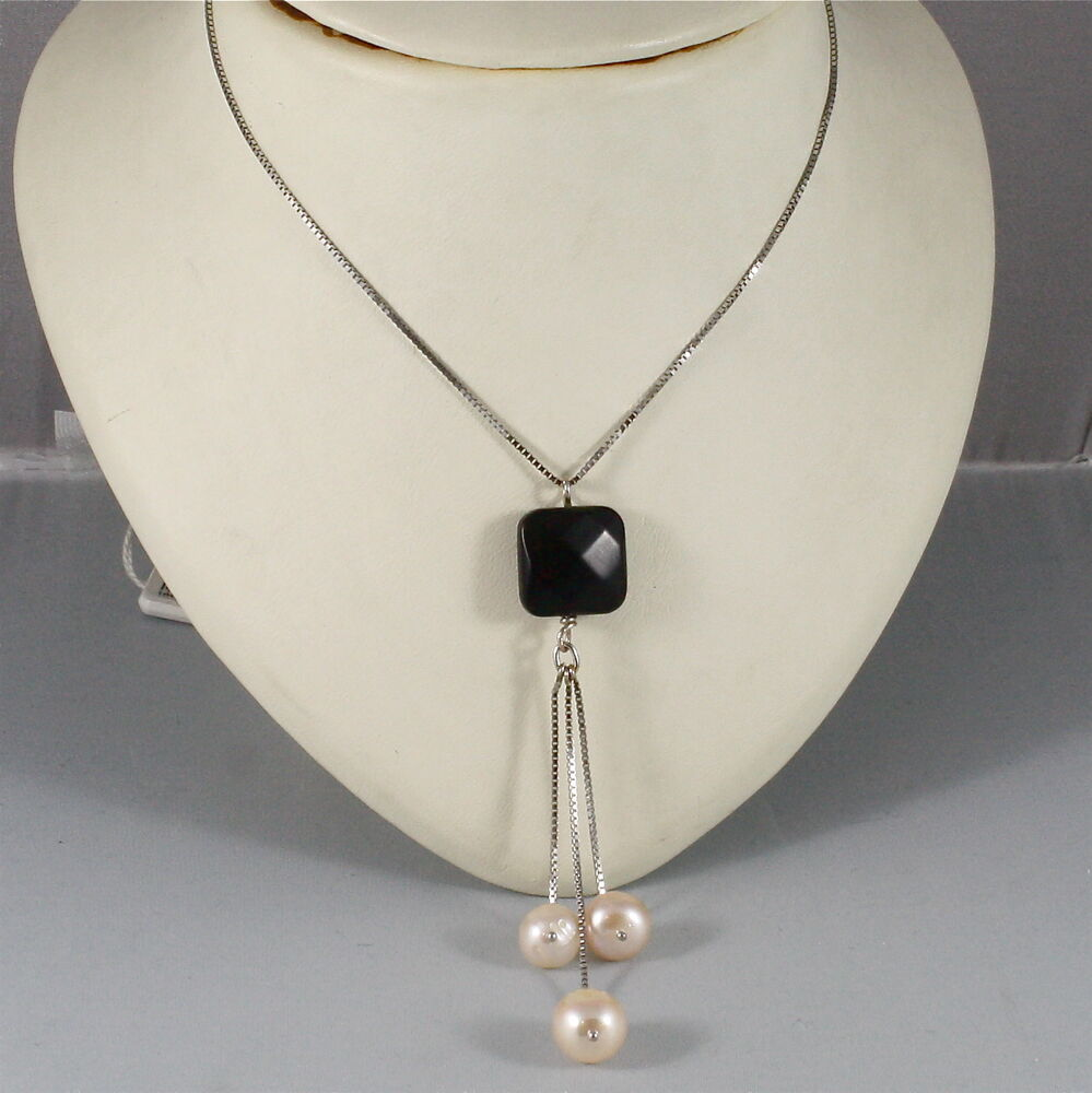 White Pearl Pendant Necklace: 18K WHITE GOLD NECKLACE WITH PENDANT ONYX, ROSE PEARL